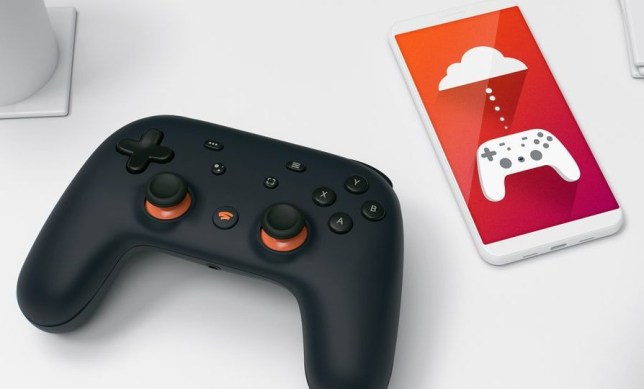 Google Stadia controller and phone