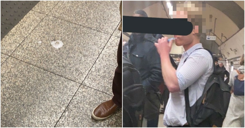 Man brushes teeth on London Underground and spits it onto Tube platform (Picture: @MelissaTherms /Twitter)