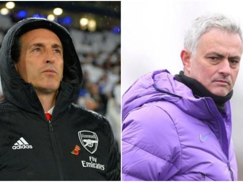 Arsenal manager Unai Emery reacts to Jose Mourinho replacing Mauricio Pochettino at Tottenham