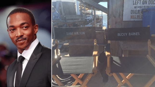 Anthony Mackie Sebastian Stan on The Falcon and The Winter Soldier set