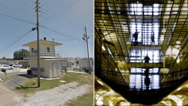 Photo of Alabama Department of Corrections in Hamilton next to file photo of prison hall