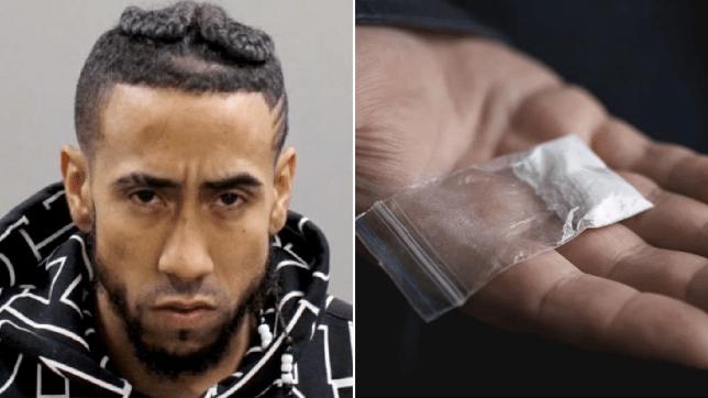 Mugshot of Benny Garcia next to file photo of bag of cocaine