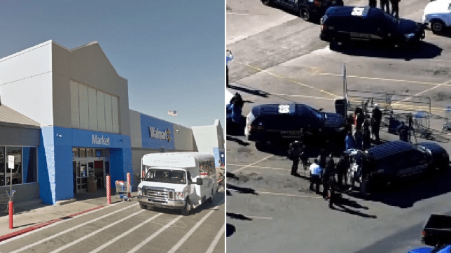 File photo of Walmart Duncan next to photo of police gathered outside in the wake of Monday's shooting