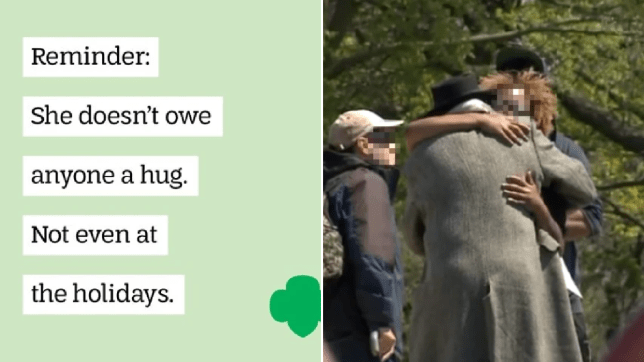 Photo of Girl Scouts USA meme with file photo of man hugging woman