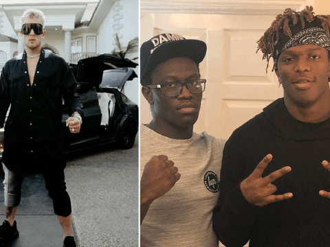Jake Paul rocks eccentric look to support Logan at rematch as KSI's brother Deji is nowhere to be seen