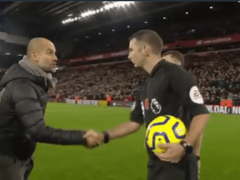 Pep Guardiola sarcastically thanks match officials after Man City lose at Liverpool