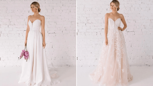 The Rosie dress, in plain fabric on the left and lace on the right from the reversible wedding dress collection by Trish Peng
