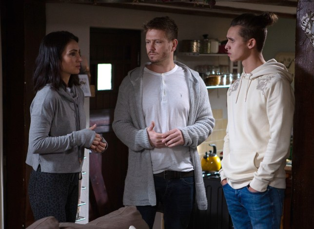 David, Leyla and Jacob in Emmerdale