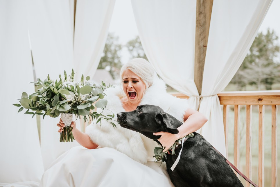 Bride with her black Labrador during her first look photos
