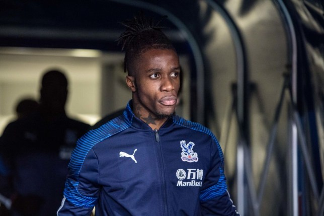 Wilfried Zaha is pictured emerging from the tunnel before a Crystal Palace game