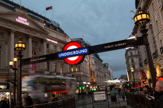 Piccadilly Circus Underground Station.