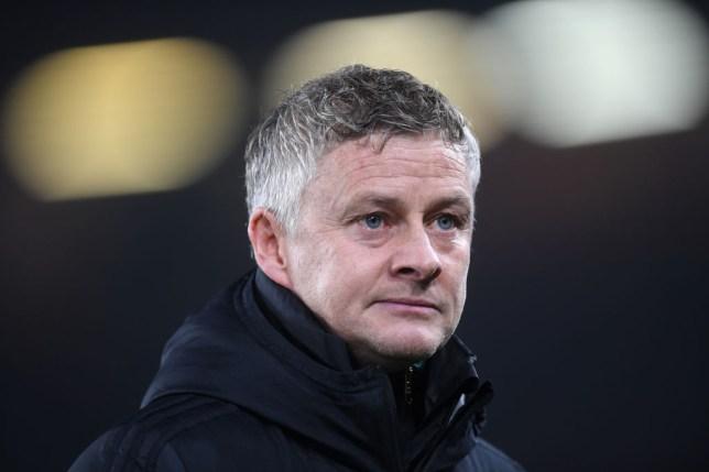 Manchester United manager Ole Gunnar Solskjaer looks on