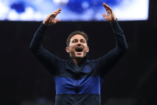 Frank Lampard celebrates with Chelsea fans after beating Tottenham