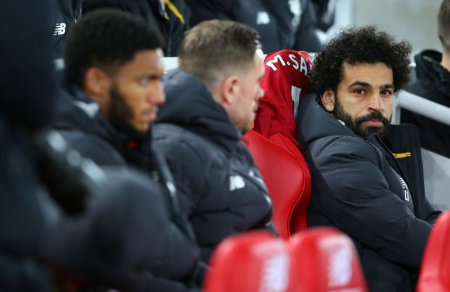 Mohamed Salah sat on the bench for Liverpool's Merseyside derby win over Everton at Anfield in the Premier League