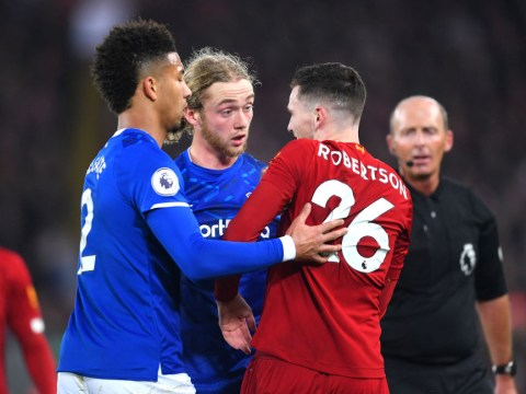 Liverpool's Andy Robertson avoids red card after elbow to the back of Tom Davies' head