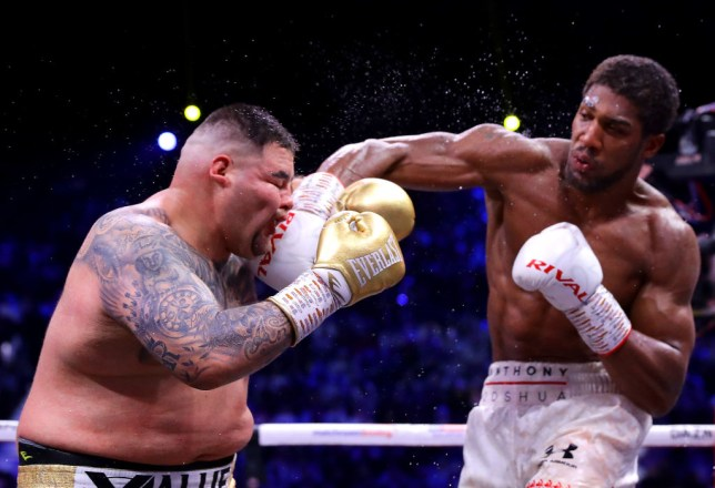Anthony Joshua punches Andy Ruiz Jr in their heavyweight rematch