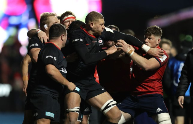 Saracens and Munster players almost came to blows during their Heineken Cup clash