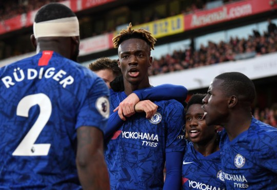 Tammy Abraham celebrates after scoring Chelsea's winner against Arsenal