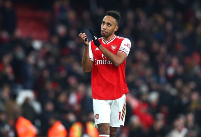 Pierre-Emerick Aubameyang applauds the fans after an Arsenal game