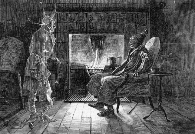 Illustration of a Ghost Visiting Scrooge by Edwin Austin Abbey