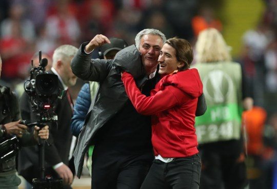 Jose Mourinho celebrates with his son after winning the Europa League final with Manchester United