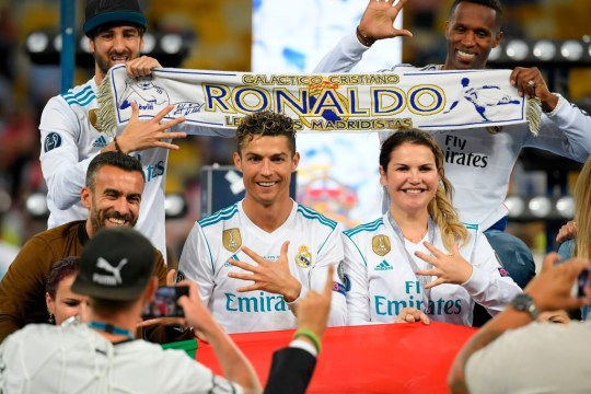 Cristiano Ronaldo celebrates with his sister after beating Liverpool in the Champions League final