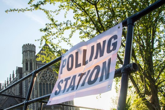 A polling station sign