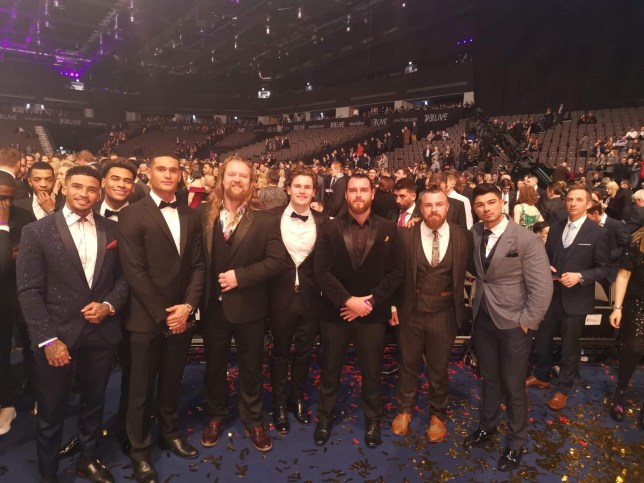 Love Island stars pose with NXT UK's Gallus at SPOTY