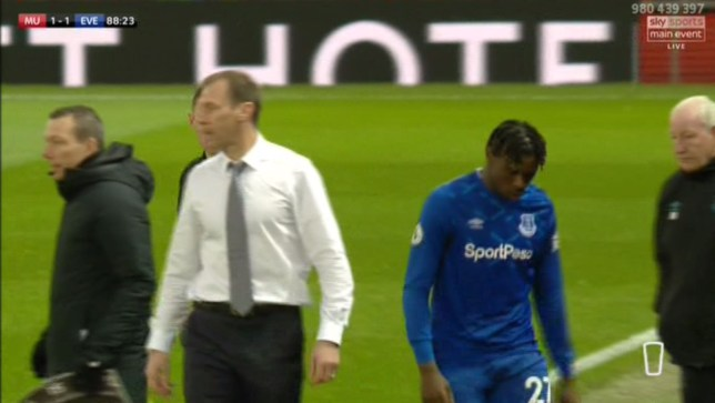 Duncan Feerguson replaced Moise Kean after just 18 minutes in the second half of Everton's 1-1 draw with Manchester United