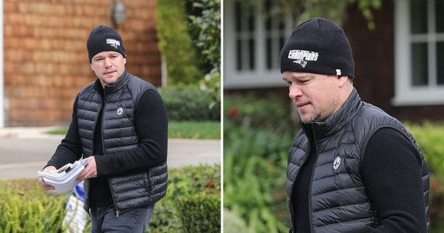 Matt Damon leaving Ben Affleck's house