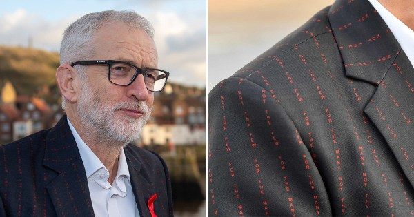 Jeremy Corbyn's jacket has 'For the many, not the few' printed onto it