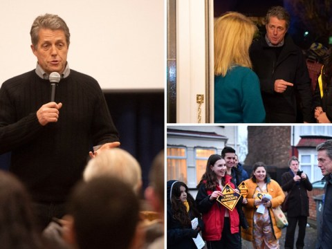 Hugh Grant turns to politics as he canvasses with Lib Dems MP Luciana Berger on General Election campaign trail