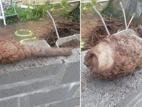 Dad finds huge unexploded bomb while clearing out garden