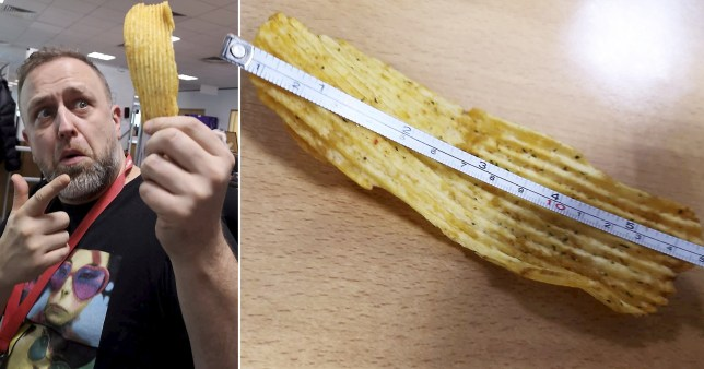 Daniel with the crisp that he thinks might be the largest in Britain