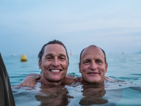 True Detective stars Matthew McConaughey and Woody Harrelson take a break from acting to reunite with a dip in the ocean