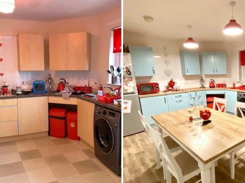 Mum transforms kitchen from 'council house bleak' to 'farmhouse chic' for £218