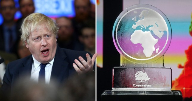 Prime Minister Boris Johnson and melting ice sculpture used on Channel 4 Climate Change debate