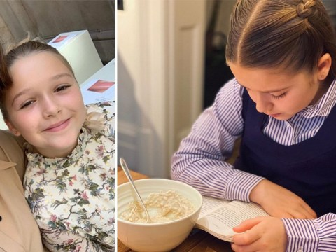 Harper Beckham is an adorable bookworm as she blanks mum Victoria in favour of reading