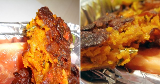 Pictures of onion bhaji containing metal screw ordered from Nice and Spicy restaurant, in Lancaster