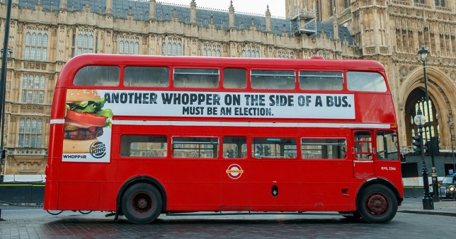 Burger King says that 'if anyone has the right to stick whoppers on the side of a bus, it's us'