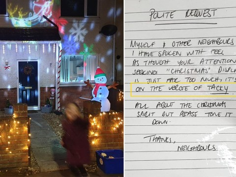 Neighbour sends anonymous letter calling man's Christmas display tacky
