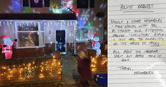 Caption: Neighbours hit out at \'tacky\' Christmas display