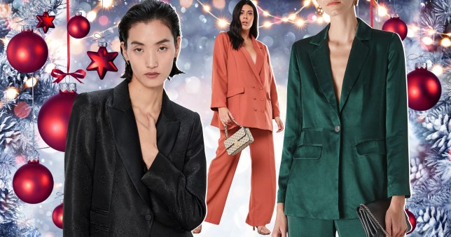 Three models wearing suits from Zara, Missguided and John Lewis, featured on a festive background