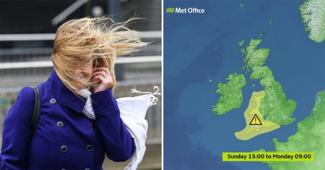 Woman in windy weather and Met Office yellow warning for when Storm Atiyah hits the UK