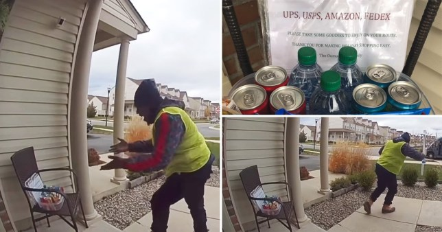 Amazon delivery guy's reaction to a Christmas package left out for him is so wholesome