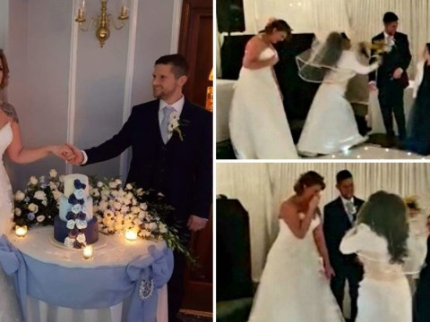 Bride thinks groom's ex has crashed their big day when mystery woman turns up in a wedding dress