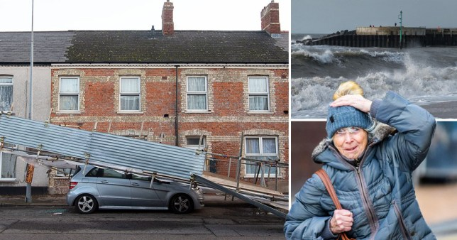 Mercedes crushed by scaffolding as Storm Atiyah batters UK with 70mph winds