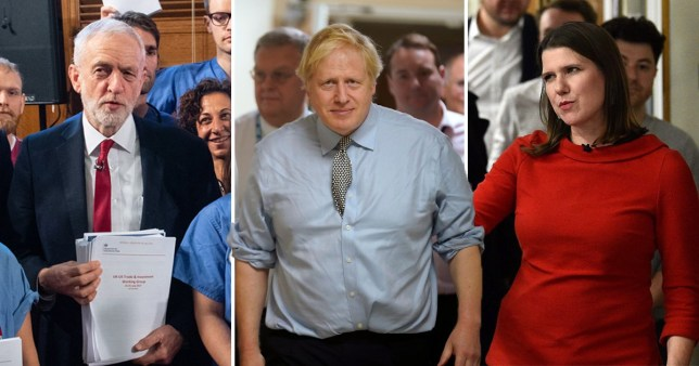 Jeremy Corbyn, Boris Johnson and Jo Swinson in hospitals during election campaigning