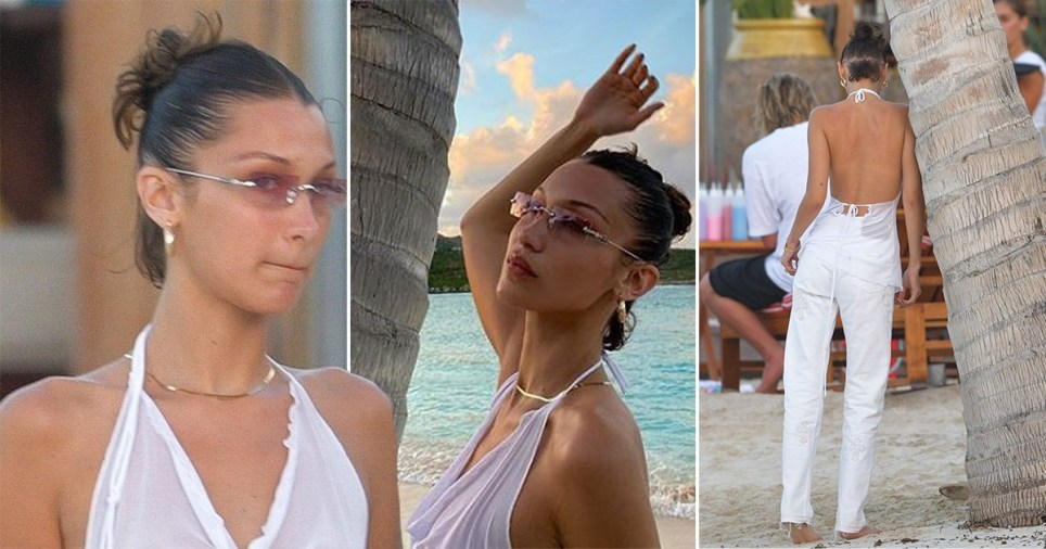 Only Bella Hadid can wear a sheer top and white jeans to the beach and make it in any way stylish