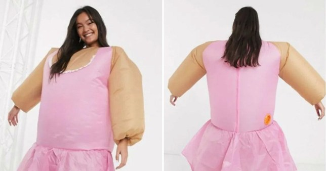 Ballerina charades fat suit game which was withdrawn for sale at ASOS